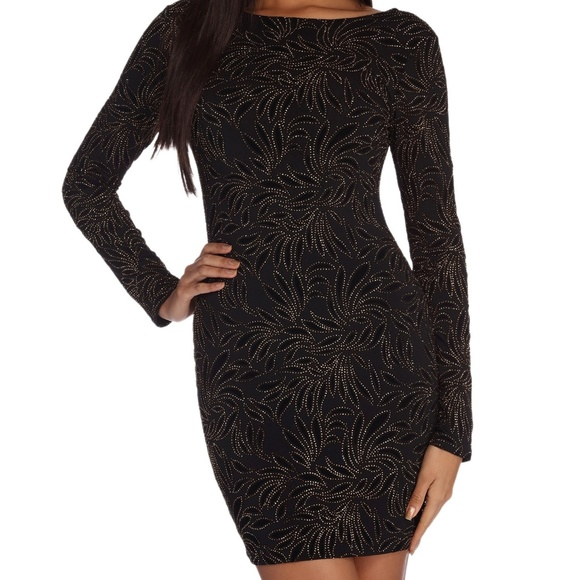6cb22f579d4a4 Black & Gold Sparkled Long Sleeve Mini Dress. NWT. Windsor.  M_5cb9443326219fe37bb50079. M_5cb94433bb22e38414c66a77.  M_5cb9443229f030567e304d95
